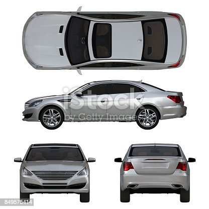 istock Three-dimensional modern gray car 849575414