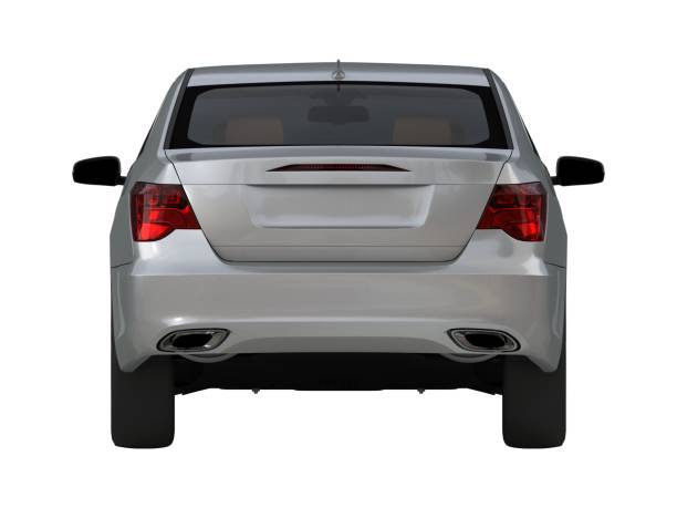 three-dimensional modern gray car - rear view stock photos and pictures
