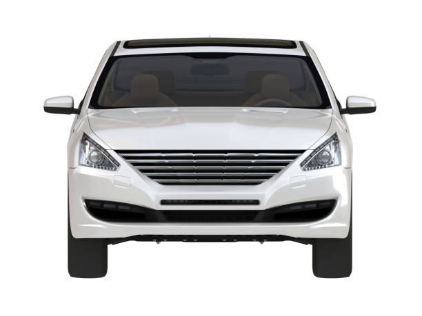 Three-dimensional modern white car - foto stock