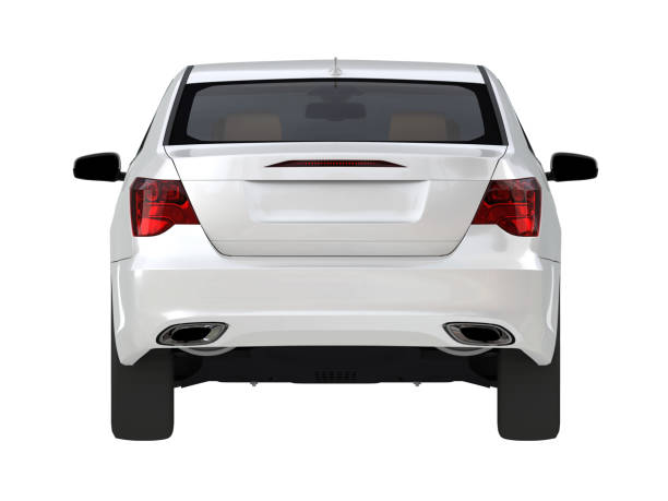 three-dimensional modern white car - rear view stock photos and pictures