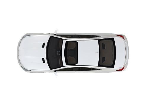 Three-dimensional modern white car
