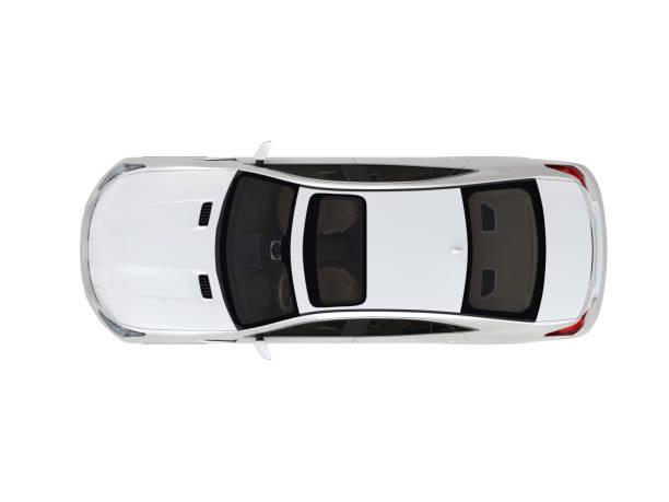 dreidimensionale modernes weißes auto - draufsicht stock-fotos und bilder