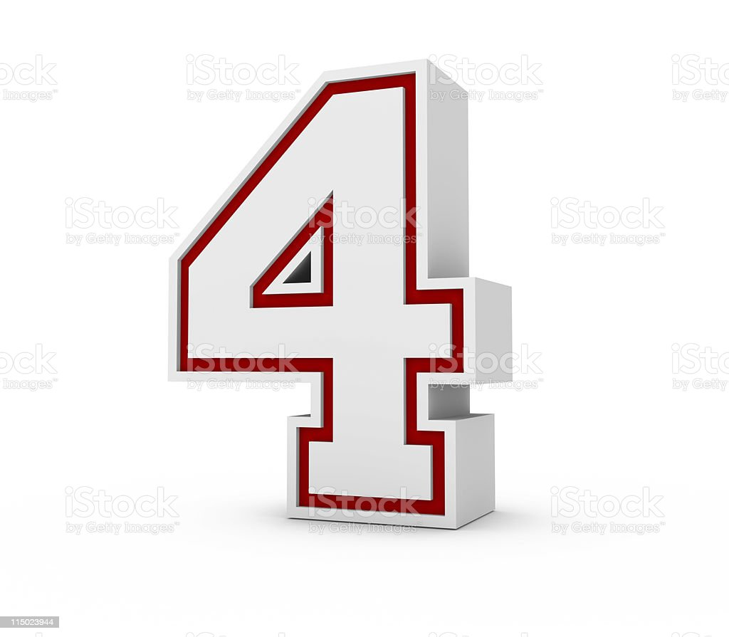 Three-dimensional number four on white background royalty-free stock photo