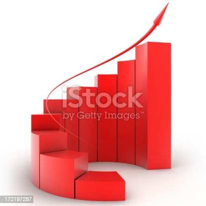 istock Three-dimensional red bar graph spiral staircase 172197287