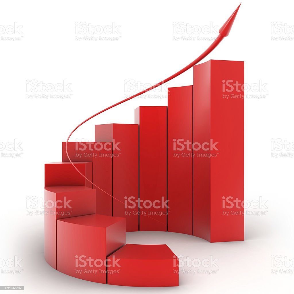 Three-dimensional red bar graph spiral staircase stock photo