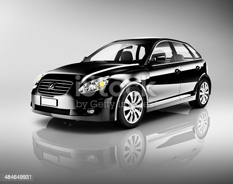 475358758 istock photo Three-Dimensional Shape Black Sedan Studio Shot 484649931