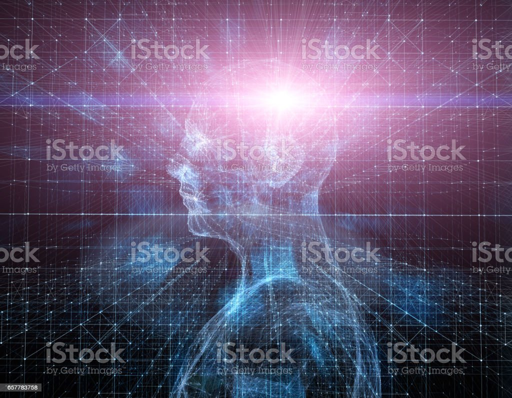 Three-dimensional space inside the human head, thought storm stock photo