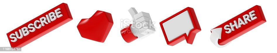 495695633 istock photo three-dimensional subscribe like thumb up hand comment share icons set isolated on white background 1168734761
