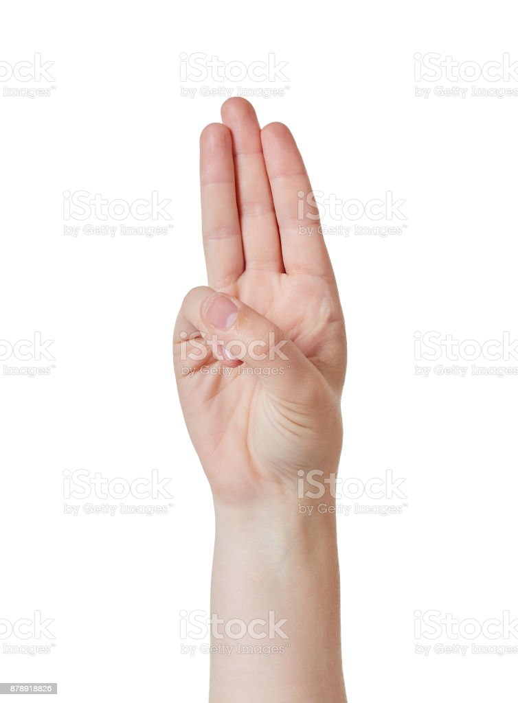 Three-fingered salute stock photo