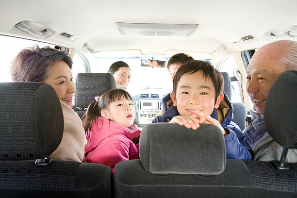 three-generation family enjoy driving - asian travel in car stock photos and pictures