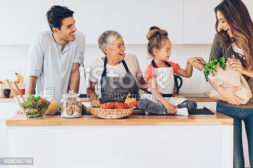 638984280 istock photo Three-generation family in the kitchen 639095748