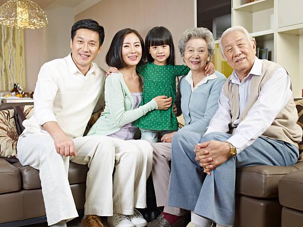three-generation family stock photo