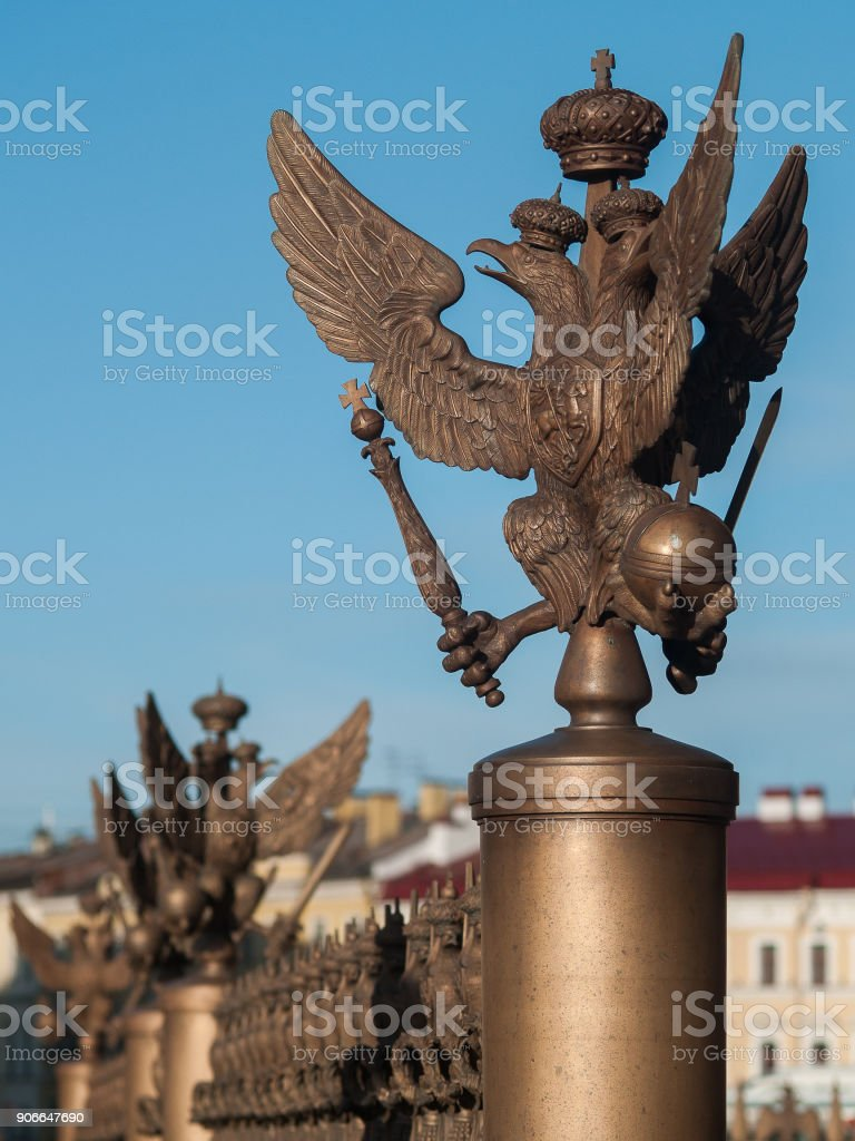 Three-headed eagle on Palace Square in Saint-Petersburg, Russia stock photo