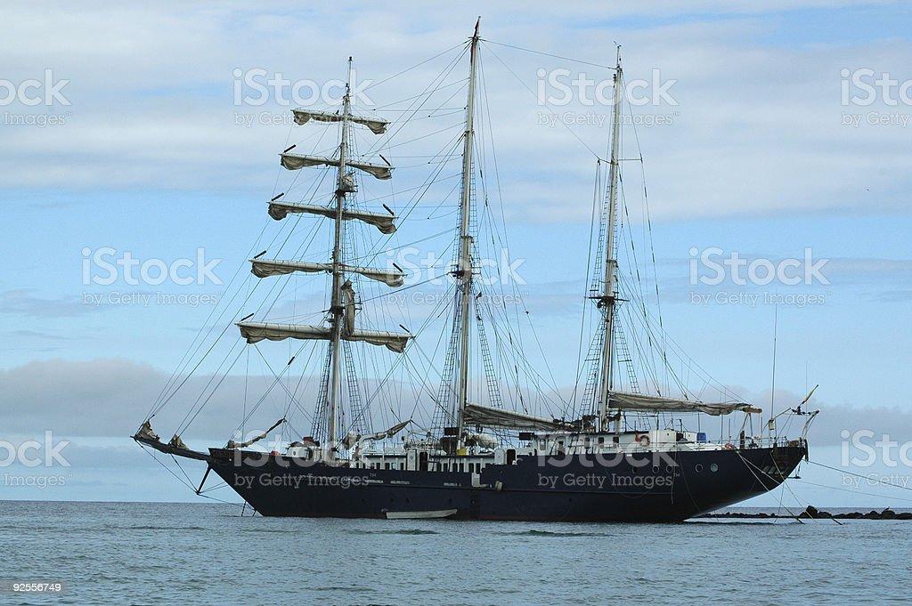 three-masted schooner royalty-free stock photo