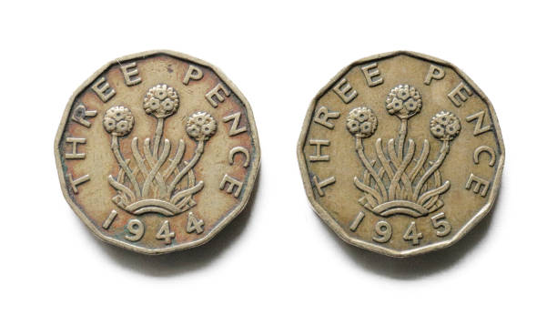 threepenny bits obverse 1944 1945 old british coin money - whiteway money stock photos and pictures