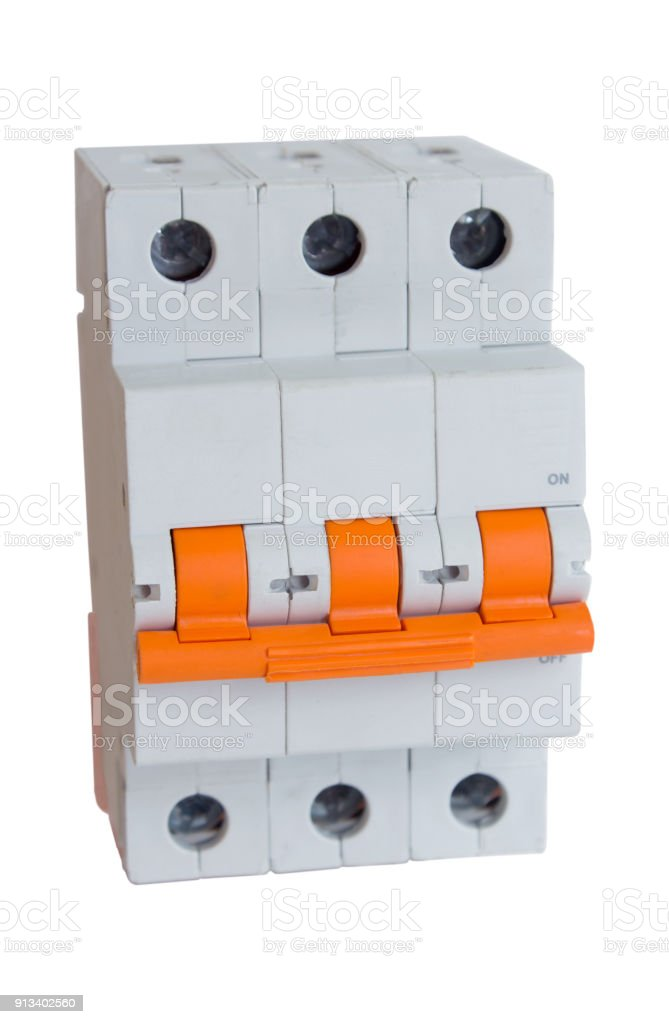 Three-phase electric switch stock photo