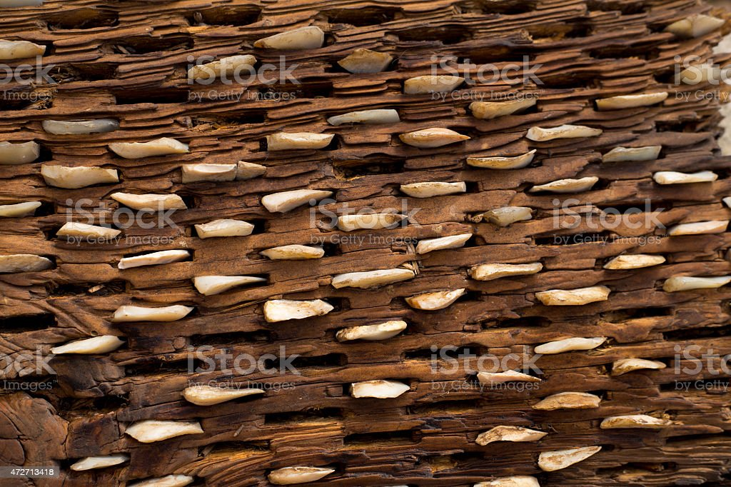 threshing board of aged wood and stones texture stock photo