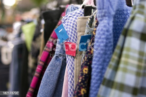 Inexpensive used clothing for sale in a thrift store.Similar Image.