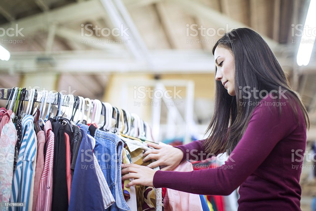 Thrift Store Shopping Young Woman​​​ foto