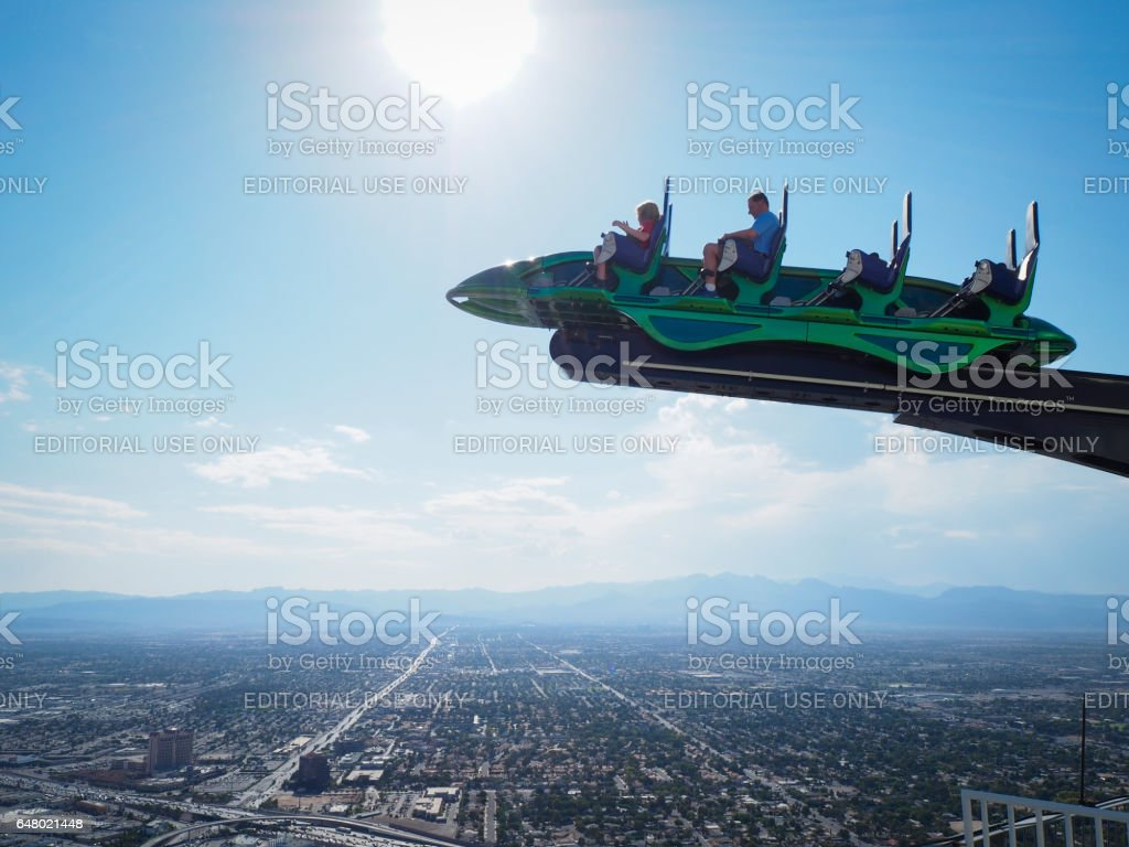 Thrill ride on top of Las Vegas Stratosphere Tower stock photo