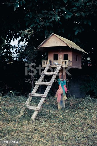 istock Thriller scene of wooden ghost house in Thailand 823687364