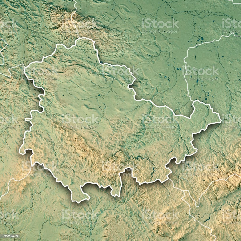 Topographische Karte Thüringen.Thüringen Bundesland 3d Render Topographische Karte Grenze Stockfoto