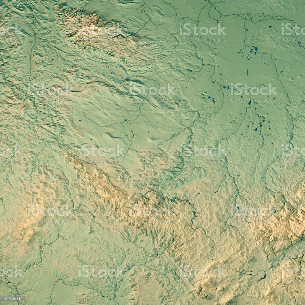 Thüringen Bundesland 3D Render Topographic Map stock photo