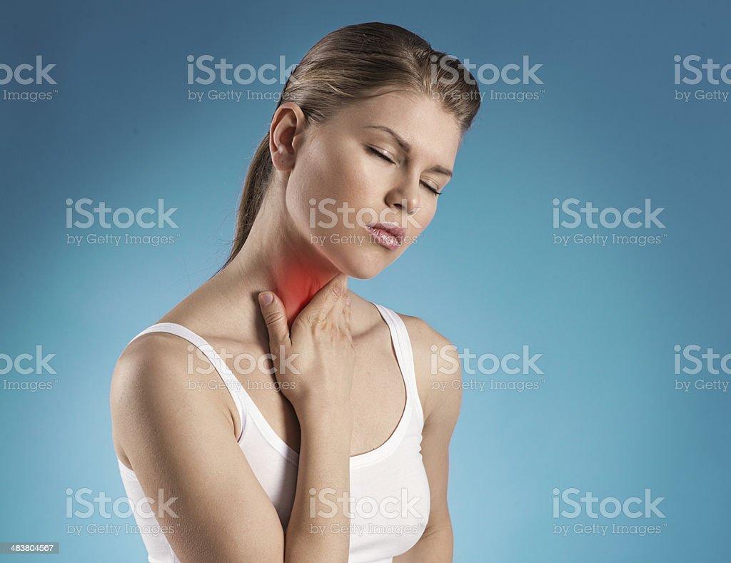 Throat ache stock photo