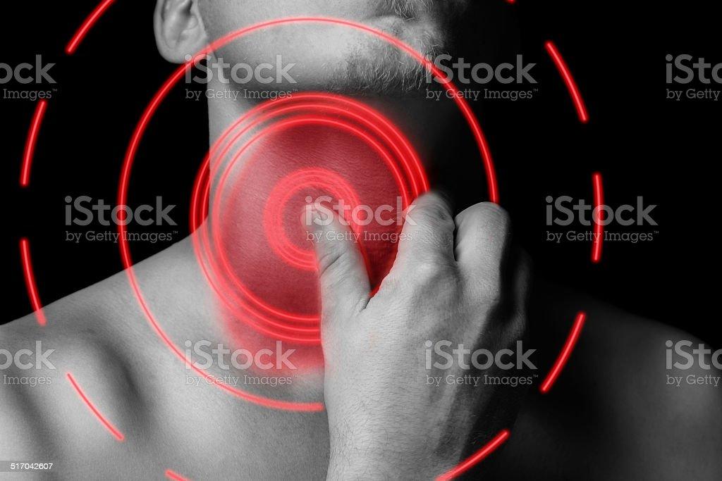 Cou douleur mal de couleur rouge - Photo
