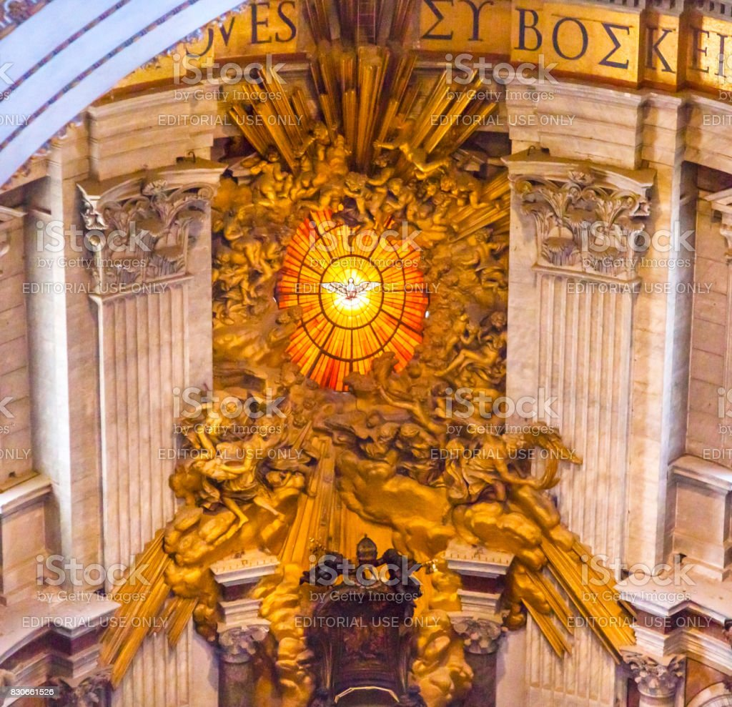 Trono Basílica Vaticano Roma Itália do Espírito Santo Bernini Saint Peter - foto de acervo