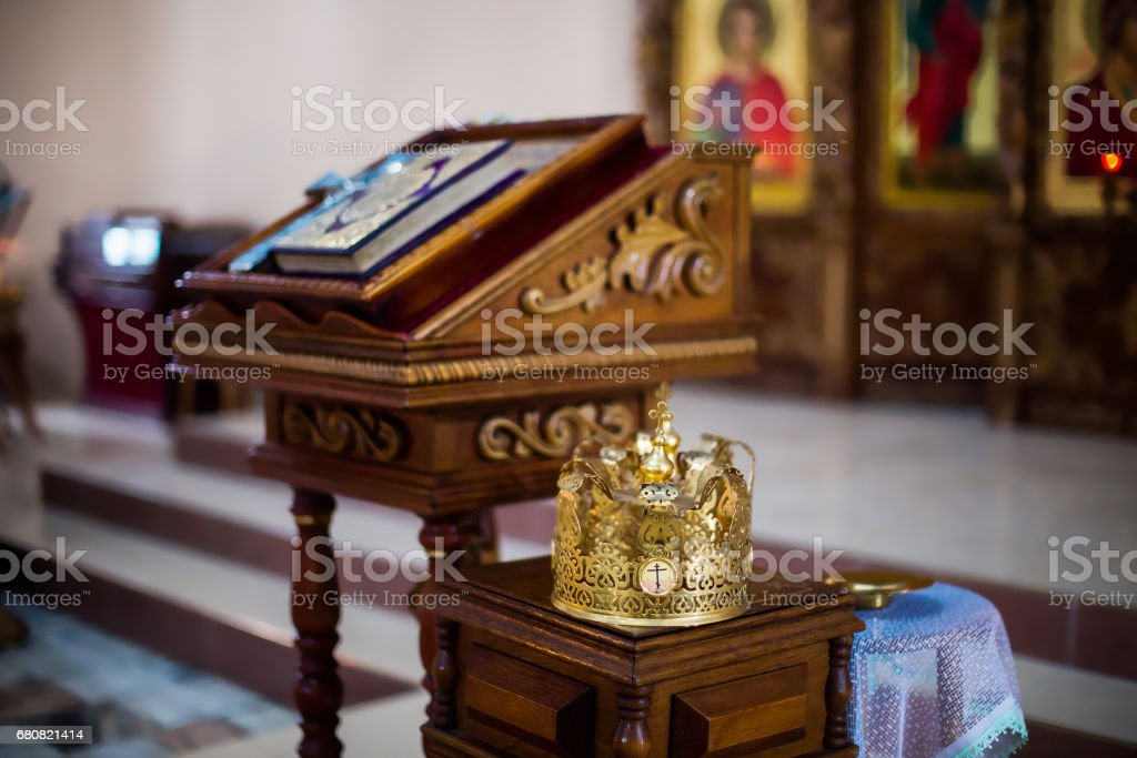 throne, crown in the church within the church stock photo