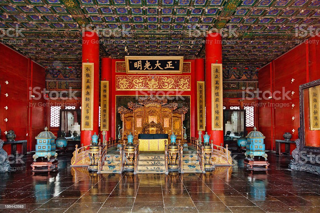 Throne in palace of the Forbidden City stock photo