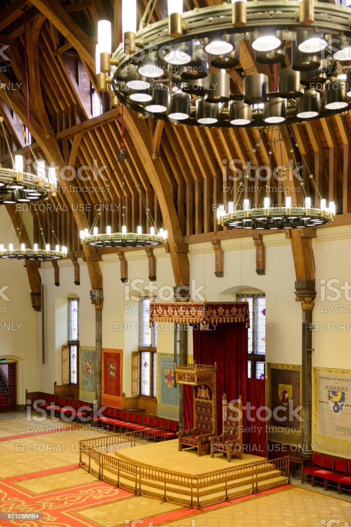 Throne of the the Dutch king in the Ridderzaal stock photo