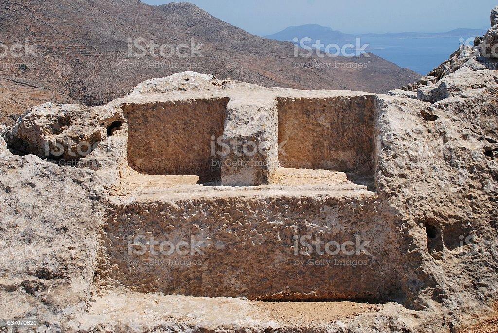 Thrones of Zeus and Hekate, Halki stock photo