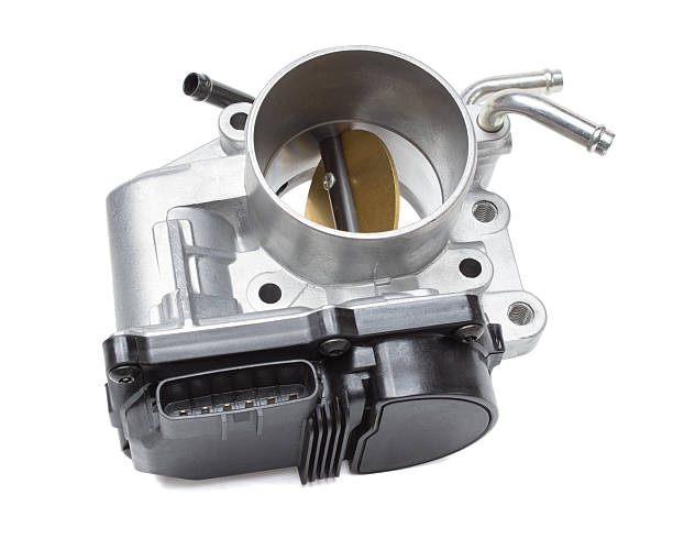 throttle valve with electronic control air supply to the engine stock photo