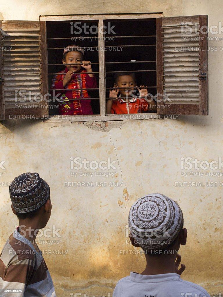 Through a window stock photo