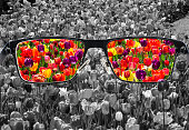 Through glasses frame. Colorful view of colorful tulips in glasses and monochrome background. Different world perception. Optimism, hopefulness, mental health concept.
