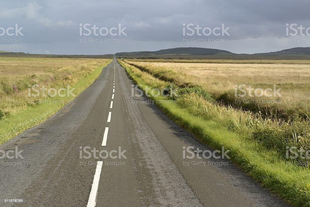 Through Islays peat bogs stock photo