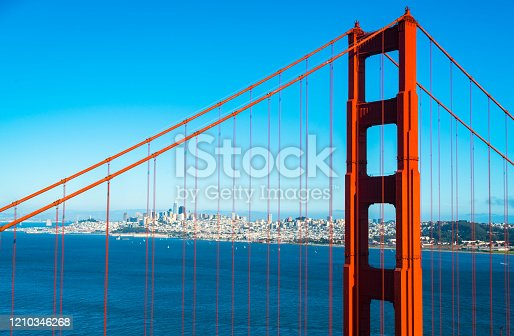 Golden Gate Bridge Overlook at San Francisco California on a nice sunny afternoon day in August Summertime