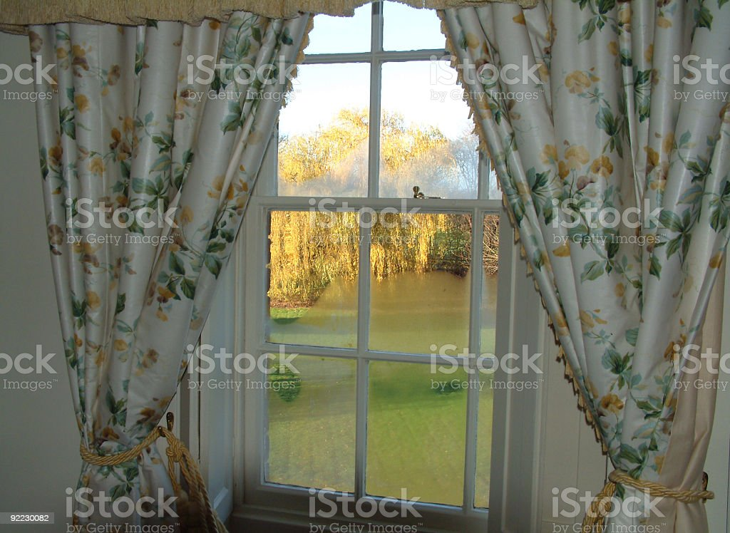 Through the curtains on a cold morning royalty-free stock photo