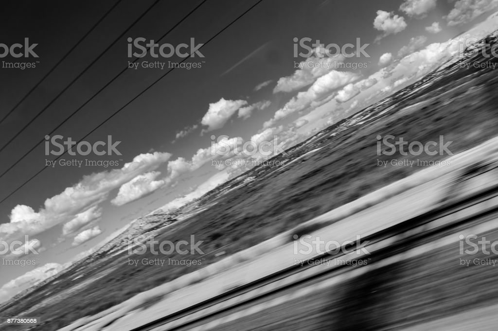 through the glass of the high-speed train stock photo