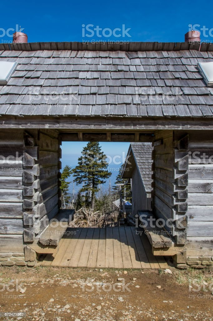 Through the Log Cabin on Mt LeConte stock photo