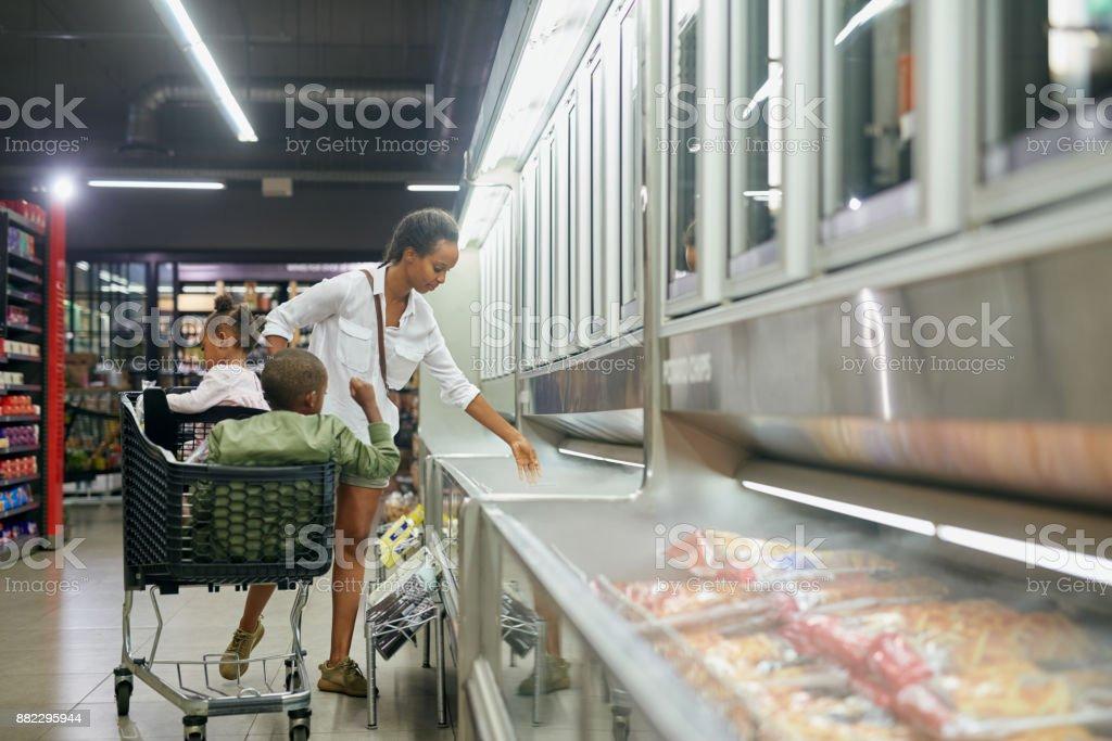 Through the produce aisle stock photo