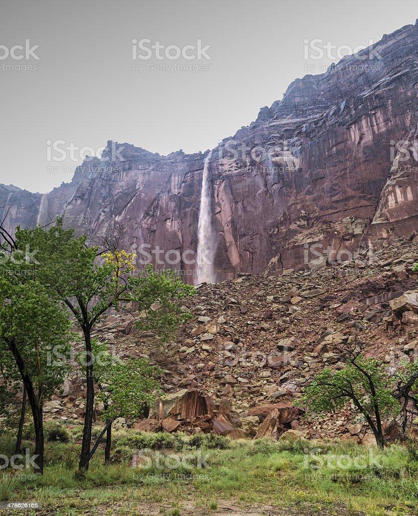Through the Rain to the Waterfall stock photo