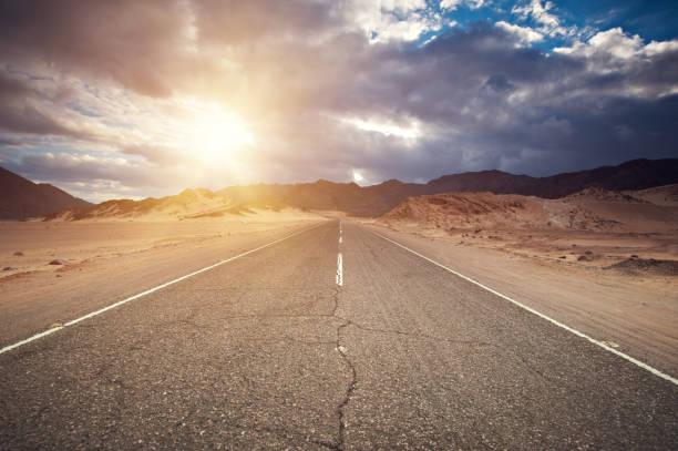 through the Sinai desert road stock photo