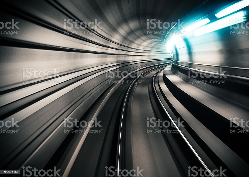 through the tunnel at the speed of light stock photo