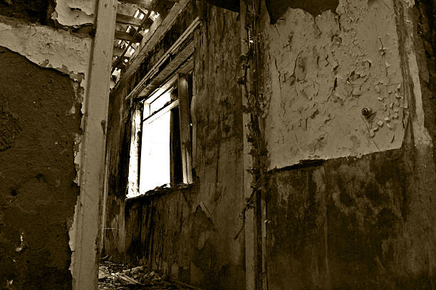 through the window from the hall of a derelict building abjure stock pictures, royalty-free photos & images