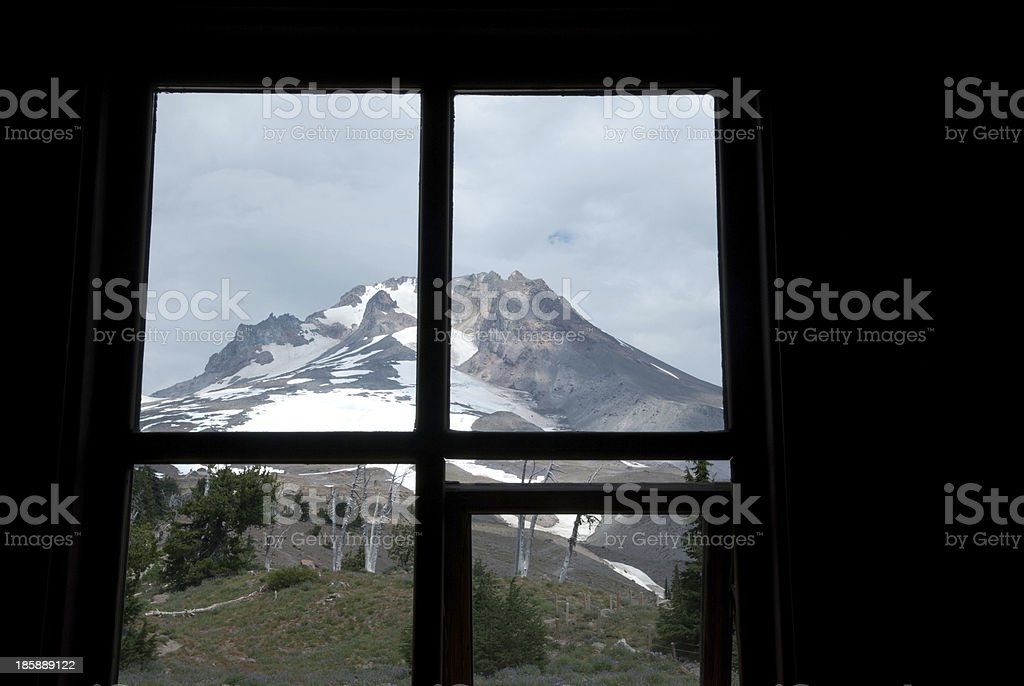 Through the Window to Mt. Hood royalty-free stock photo