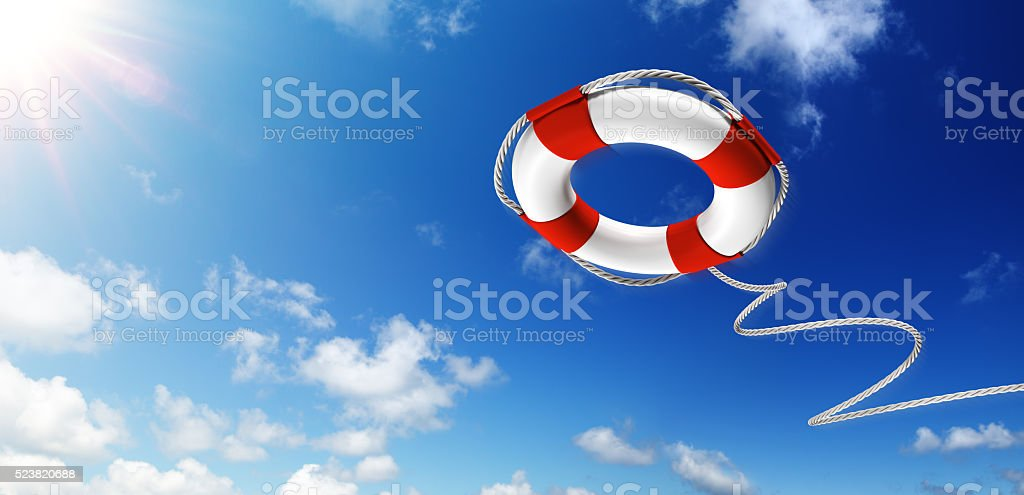 Throwing A Life Preserver In The Sky stock photo