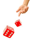Dice red dice in mid air reveal sixes